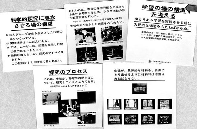 1973年の教育の近代化展における、矢口の科学的探究のための学習の場についての提案。
